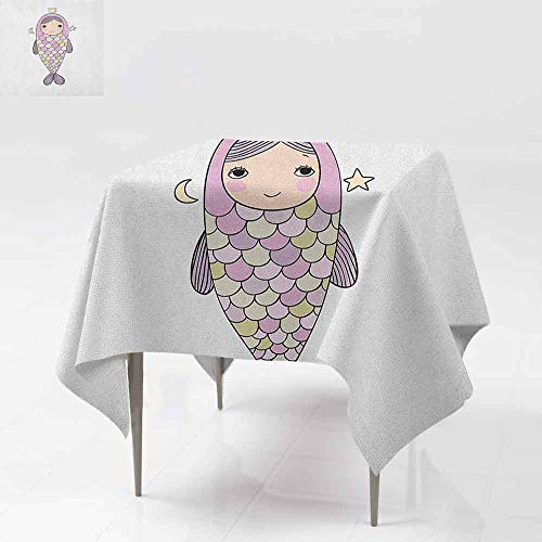 AndyTours Washable Square Tablecloth,Mermaid,Fantasy Sea Life Mythological Character Girl in Fish Costume with Crown Moon Stars,Party Decorations Table Cover Cloth,50x50 Inch Multicolor]()