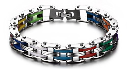 HUANIAN Mens Stainless Steel Rainbow Silicone Biker Bracelet,High Polished Bike Chain,8.5