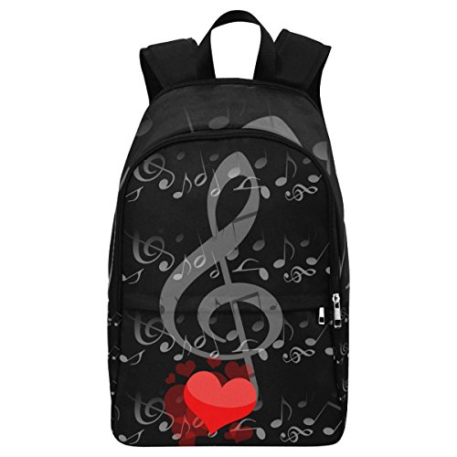 InterestPrint Custom Music Note Love Heart Casual Backpack School Bag Travel Daypack by InterestPrint
