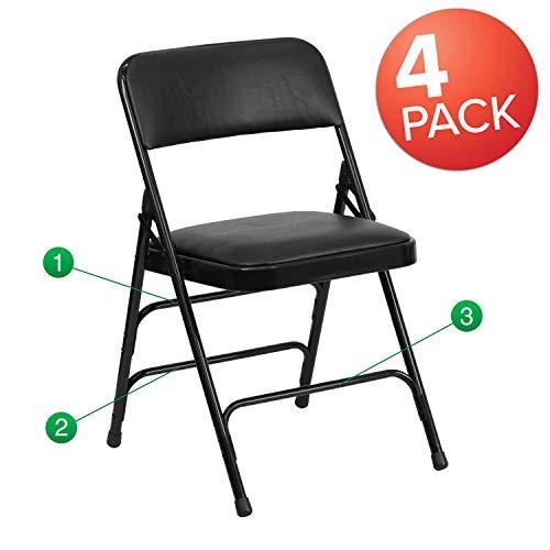 Flash Furniture 4 Pk. HERCULES Series Curved Triple Braced & Double Hinged Black Vinyl Fabric Metal Folding Chair ()