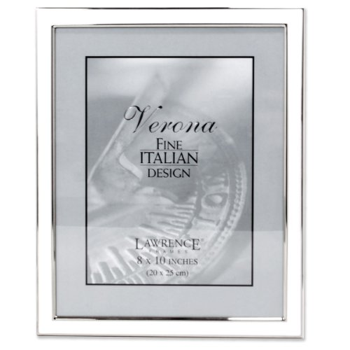 - Lawrence Frames Silver Plated 8 by 10 Metal with White Enamel Picture Frame