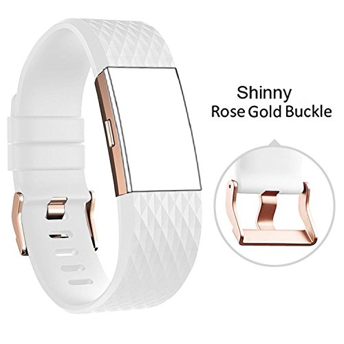 DB Charge 2 sai072 Band with Rose Gold Buckle for Fitbit Charge 2 Wrist Band Classic Fitness Flex Adjustable Colorful Fashion Sport and Sleep Clasp Bracelet Replacement Accessories