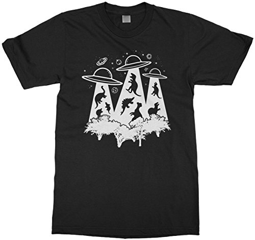 Price comparison product image Threadrock Kids Dinosaur Alien Abduction Youth T-Shirt XS Black