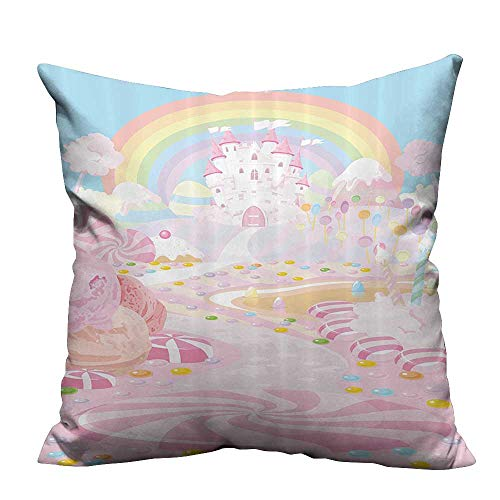 YouXianHome Throw Pillow Cover for Sofa Lollipops The Road to iry Kingdom Rainbow in The Clear Sky Textile Crafts (Double-Sided Printing) 24x24 inch