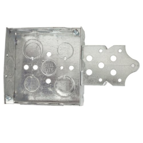 Steel City 52151-BX Pre-Galvanized Steel Square Box with C-3 Armored Cable Clamps, B-Bracket and 1/2-Inch and 3/4-Inch Eccentric Knockouts by Thomas & Betts