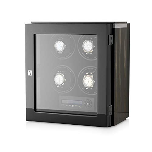 (4 Watch Winder Box for Automatic Watches with LED Backlight and LCD Display (Black Shadow))