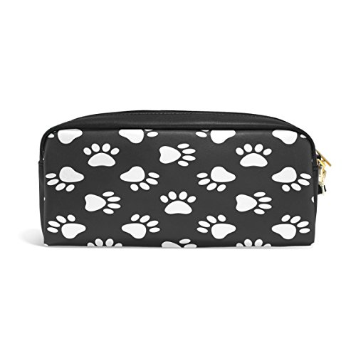 Dog Paws White Case - ALAZA White Cat Dog Paw Print PU Leather Pen Pencil Case Pouch Case Makeup Cosmetic Travel School Bag