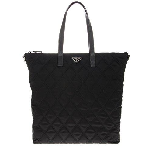 Prada Quilted Nylon Zip Tote Bag Black (Prada Womens Nylon Handbag)