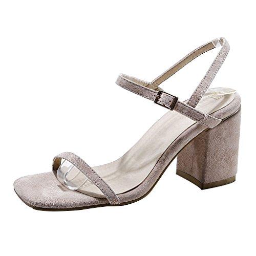 Calaier Mujer Cabicycle Bloquear 7.5CM Sintético Hebilla Sandalias de vestir Zapatos Beige