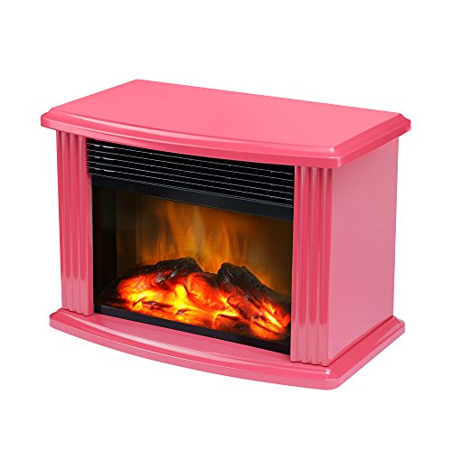 Table Top Heater (Donyer Power Mini Electric Fireplace Tabletop Fireplace Heater, Red Metal Frame)