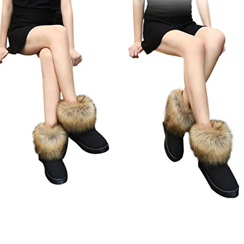Hzjundasi Señoras Mujer Invierno Nieve Piel Sintética Fluffy Tobillo Botas Cálido Cómodo Casual Zapato Plano Negro