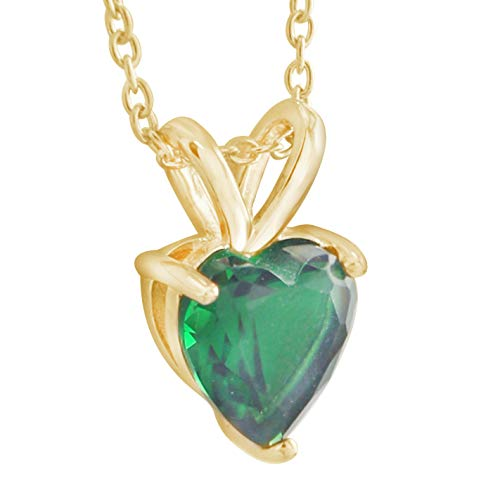 Emerald Cut Solitaire Pendant - Trillion Jewels 1ct Created Emerald Heart Cut Solitaire Pendant Necklace 14K Yellow Gold Fn