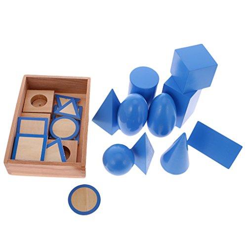 MonkeyJack Beechwood Montessori Geometric Solids Blocks Set Kids Early Learn