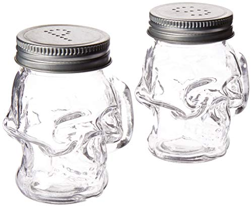 Circleware 66746 Skull Glass Mini Mug Salt and Pepper Shakers with Handles & Metal Lids 2-Piece Set, Kitchen Glassware Preserving Containers, Perfect Himalayan Seasoning Spices 4 oz Clear
