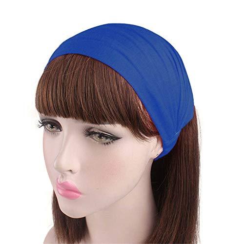 Fashion Women Ladies Cotton Wide Hair Band Turban Hats Scarf Elastic Headband (Colors - blue)