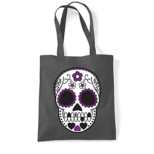 Cráneo Hombro Algodón Azucarera Gris Púrpura De Del Muerte De Totalizador Grafito Del Bolsa Tatuaje Mexicana Del xwqCTg