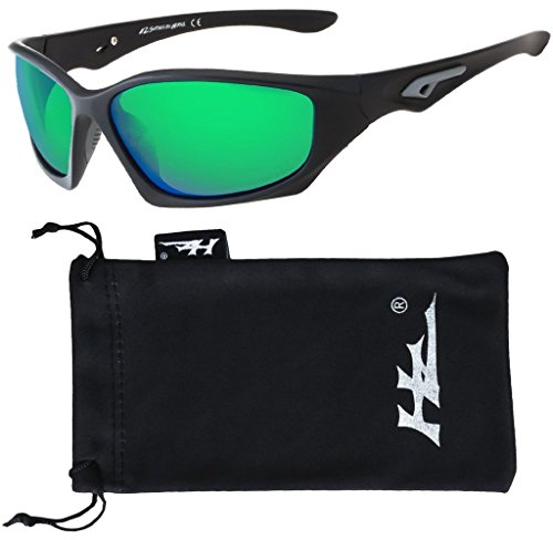 HZ Series Pro - Premium Polarized Sunglasses by Hornz - Matte Black Frame - Emerald Green Mirror - Green Sunglasses Lense