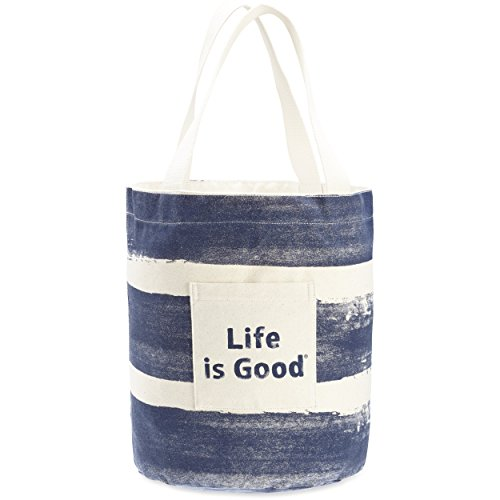Life is Good Stand-Tall Beach Tote Painted Stripe Backpack, Natural, One ()