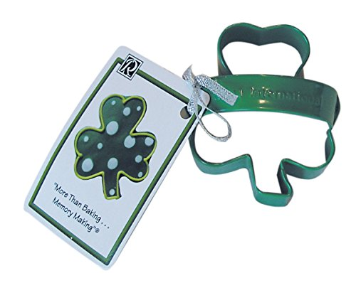 CybrTrayd RM-0660/V-6LOT R&M Shamrock 3 inch Cookie Cutter with Handle and Recipe Tag (Set of 6), Green