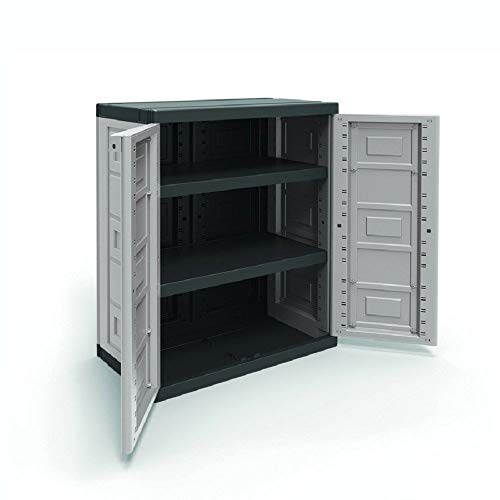- Contico 2 Shelf Plastic Garage Base Utility Cabinet, Gray