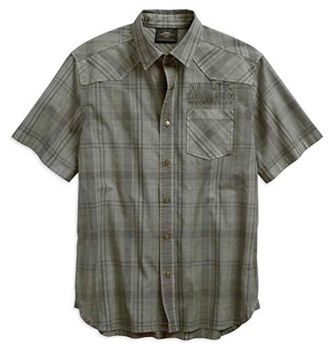 - Harley-Davidson Men's Over-Dyed Plaid Short Sleeve Woven Shirt 96540-19VM (L) Green