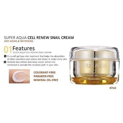 Amazon.com : MISSHA Super Aqua Cell Renew Snail Cream : Facial ...