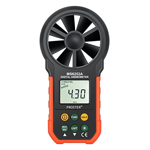 Proster Handheld Anemometer Portable Wind Speed Meter CFM Meter Wind Gauges Air Flow Thermometer with LCD Backlight for Weather Data Collection Outdoors Sailing Surfing Fishing