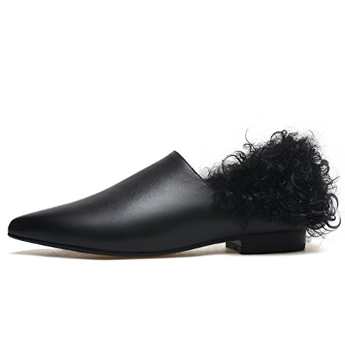 Vollleder Sheep Koreanischen Schuhe Spitz Heels Pelz Plus Curly Leather Schuhe Low Samt OdqFwYO