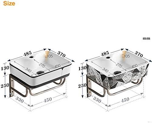 セラミック洗面器 金属フレームとセラミック洗面台壁ハング浴室キャビネットセラミック盆地 バスルームキャビネットシンク (色 : Stone pattern, Size : 48.5x37x13cm)