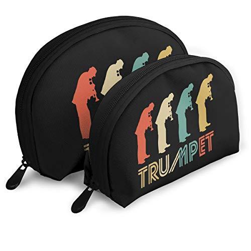 (Trumpet Player Retro Pop Art Shell Portable Bags Clutch Pouch Toiletries Bags 2Pcs)