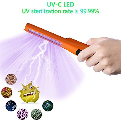 ANEWSIR Lámpara de Desinfección,desinfectante de varita de luz ultravioleta de carga USB, lámpara germicida de desinfección ultravioleta,Esterilización lámpara UVC, UV Luz Lámpara – naranja