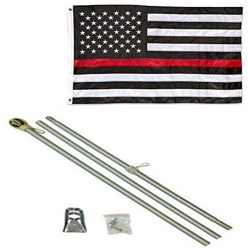 ALBATROS 3 ft x 5 ft USA Thin Red Line Embroidered Nylon Flag Aluminum Pole Kit Gold Ball for Home and Parades, Official Party, All Weather Indoors Outdoors ()