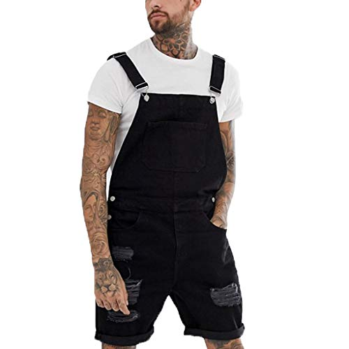 Overalls Shorts for Men,2019 New Summer Retro Denim Button Dungaree Jumpsuit Bib Short (2XL, Black)