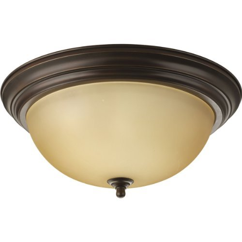 Alabaster Melon Ceiling Flush - Progress Lighting P3926-20T 3-Light Flushmount, Antique Bronze