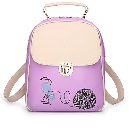Printed Pu Leather Backpack Backpack School Backpacks Cute Woman Bag Backpack Bag Bags Backpack Multicolor Green Lavender Bags Backpack