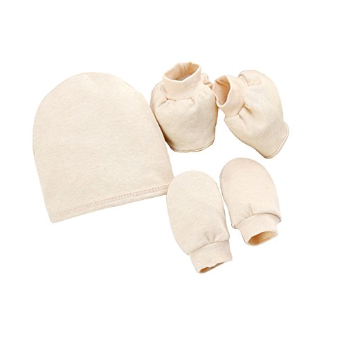 JinChang Newborn Cotton Cap Soft Gloves Cute Socks Baby 0-6 months Unisex 3-Piece Set (Cap Booties Onesie)