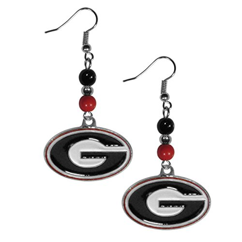 Ncaa Georgia Bulldogs University (Siskiyou NCAA Georgia Bulldogs Women's Fan Bead Dangle Earrings)