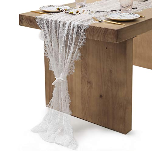 QueenDream 30x120 inch White Lace Table Runner Classy Fringe Edge Floral Table Runner for Boho Wedding Baby Shower -