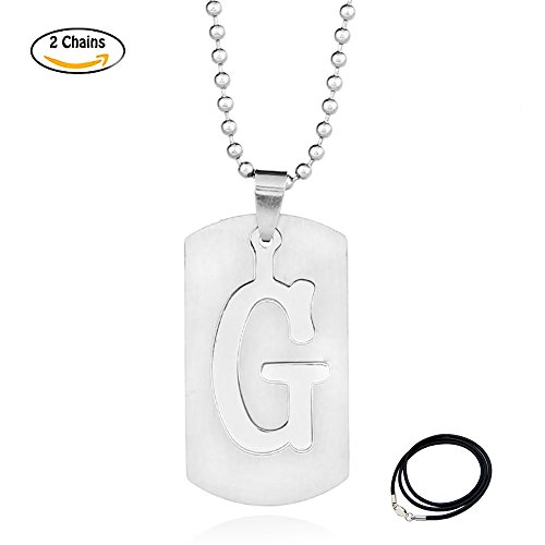 D&g Jewelry (LUCBUY 3D A-Z Stainless Steel Personalized Script Name Letters Pendant Necklace for Women Men (Letter G))