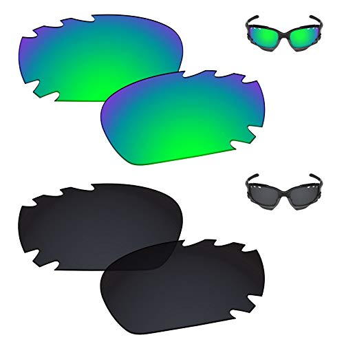 Galvanic Replacement Lenses for Oakley Racing Jacket/Jawbone Vented Sunglasses - Jade + Black Polarized - Combo Pack ()