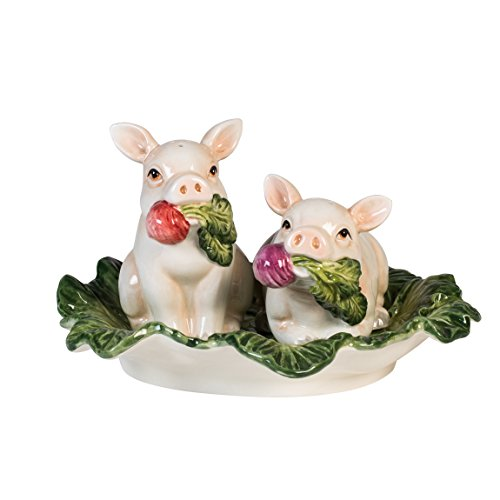 French Market Collection, Salt and Pepper Shaker Set, White/Green/Pink