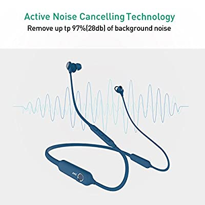 Linner NC50 Active Noise Cancelling Wireless Headphones Bluetooth 4.1 Sports Earphones - HD Stereo, Monitor Mode, 13 Hours Playtime, Neckband Magnetic Earbuds Headset with Mic - Blue