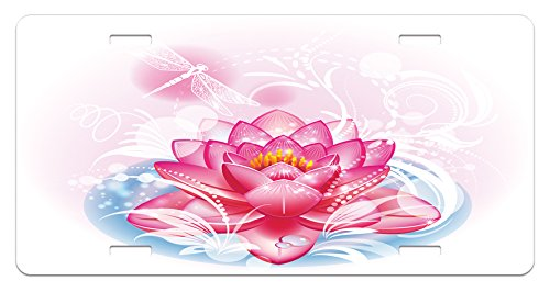 Ambesonne Flower License Plate, Mandala Motif Orient Yoga Theme Lotus Flower Figure with Abstract Mantis and Dots Photo, High Gloss Aluminum Novelty Plate, 5.88 L X 11.88 W Inches, Pink
