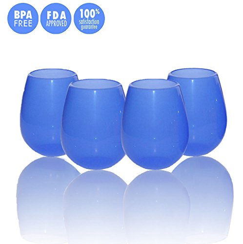 JYPC Unbreakable Silicone Stemless Wine Glasses, 12 oz, Blue (Set of 4)