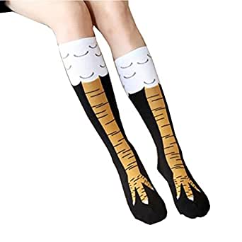 Crazy Funny Chicken Legs Knee-High Novelty Socks Funny Gifts (Length, Black)