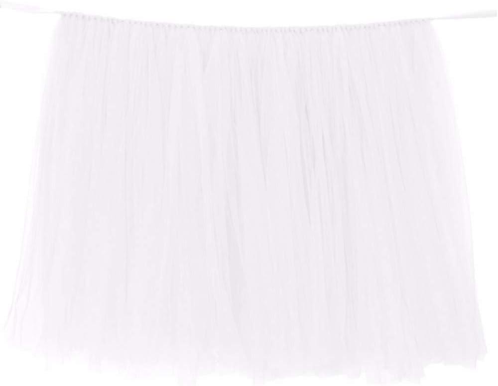 Romantic Table Skirt Tableware Tablecloth Skirting Wonderland Tutu Tulle Table Skirt Festival Table Decor Skirts Skirting Birthday Party Baby Shower Wedding Decoration Ornament- 100 x 80cm (White)