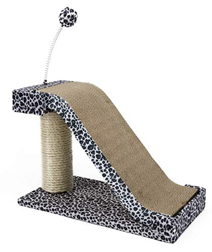 Penn Plax Catf27 Cat Scratching Post and Pad with Toy Fun Leopard Print