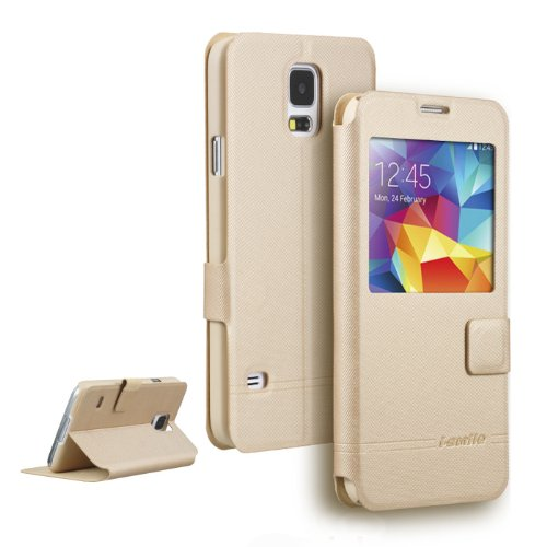 Moon Monkey Superior Imported Leather Folio Cover Case with Intelligent Window for Samsung Galaxy S5 (Champagne)