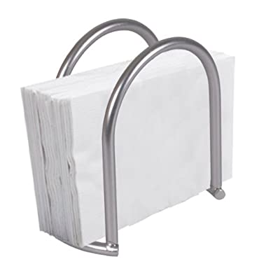 Home Basics Simplicity Collection Heavy Duty Steel Napkin Holder Dispenser Stand, Kitchen Organization, Satin Nickel