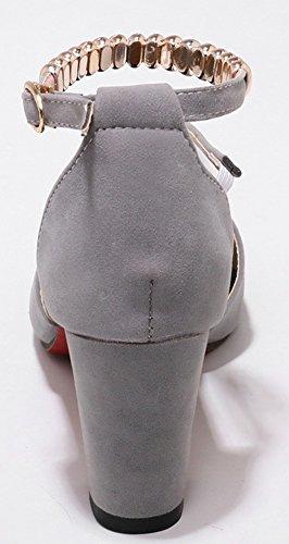 Aisun Women's Casual Buckled Open Toe Medium Chunky Heels Sandals Gray 4eXPhW